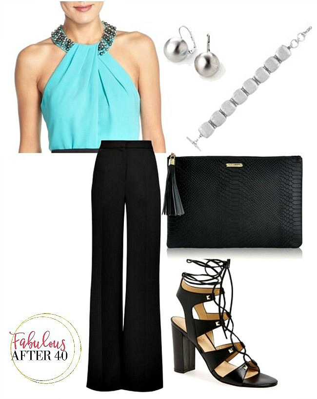 blue top and black wide palazzo pants